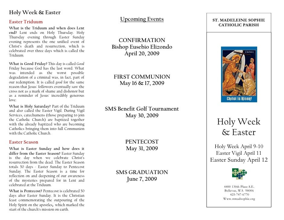 Holy Week & Easter                                                        Upcoming Events          ST. MADELEINE SOPHIE Ea...
