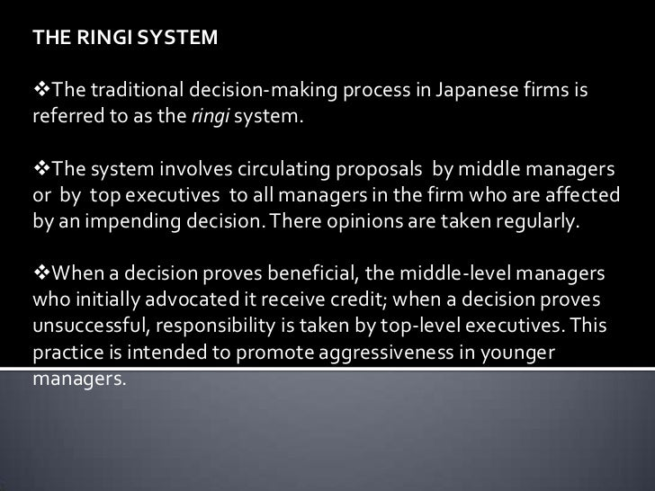 ringi system in japan The teikisaiyou system is a long-range staff development system, in which large japanese companies hire the ringi system is applied to processes whereby a proposal or ringi-sho, is prepared at the middle management level to be circulated within.