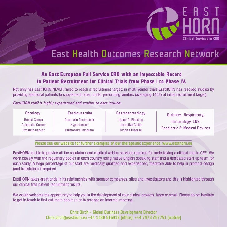 East Health Outcomes Research Network                  An East European Full Service CRO with an Impeccable Record        ...