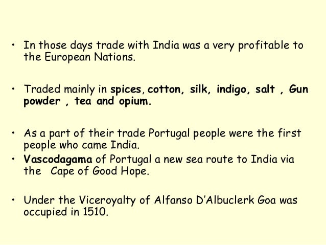 in Those Days Trade With India