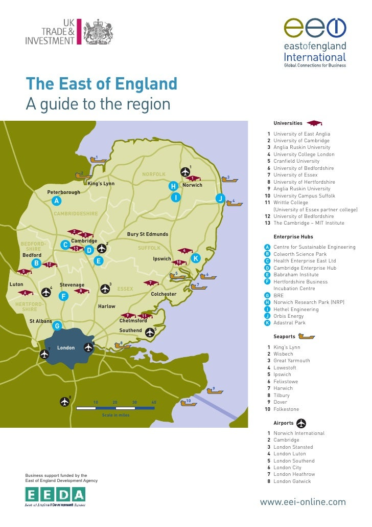 East Of England Map A Guide To The Region