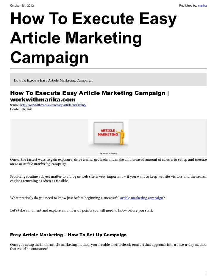 How To Execute Easy Article Marketing Campaign