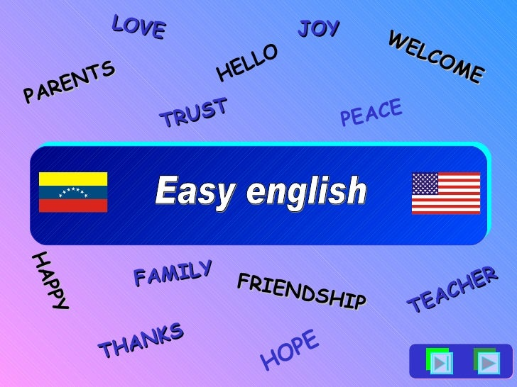 Easy english HELLO THANKS WELCOME FRIENDSHIP PARENTS TEACHER FAMILY LOVE HOPE PEACE TRUST JOY HAPPY