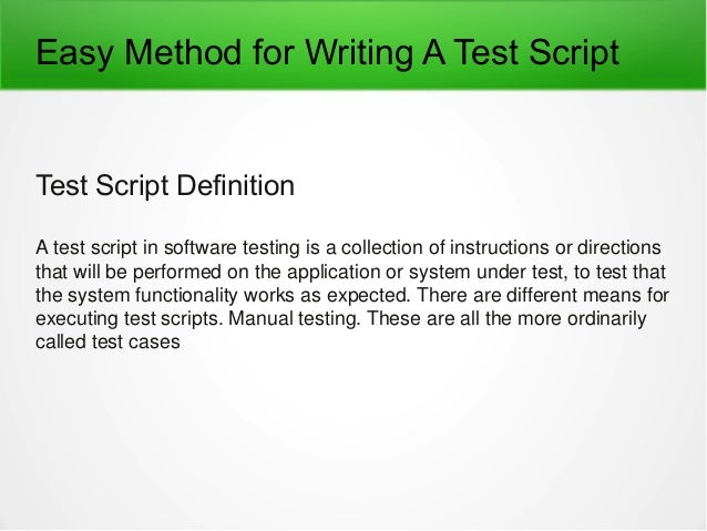 test script writing