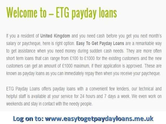 Easy To Get Payday Loans - London, UK