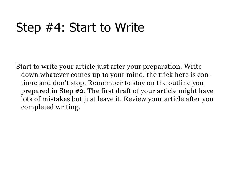 Steps of writing an article