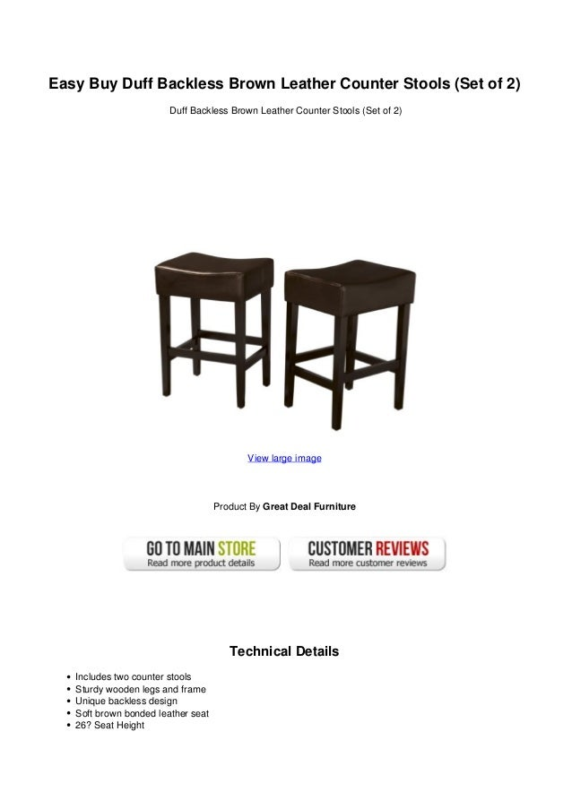 Easy Buy Duff Backless Brown Leather Counter Stools Set Of 2