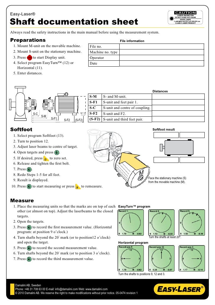 Easy laser shaft alignment worksheet for Toshiba electric motor data sheets