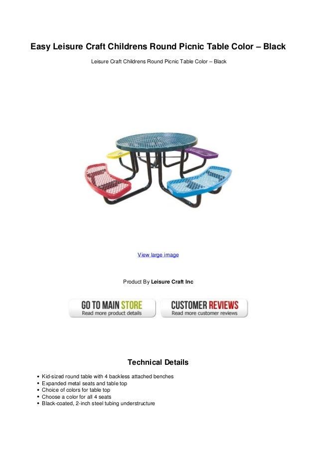 Easy leisure craft childrens round picnic table color black for Leisure craft picnic tables