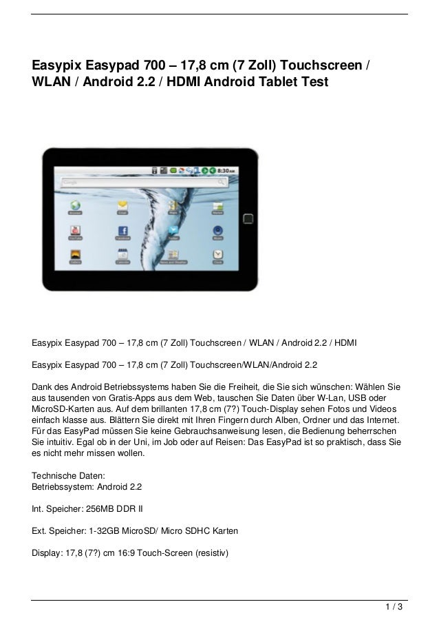Easypix Easypad 700 – 17,8 cm (7 Zoll) Touchscreen /WLAN / Android 2.2 / HDMI Android Tablet TestEasypix Easypad 700 – 17,...