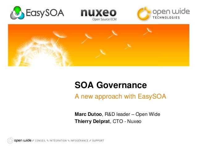 SOA Governance A new approach with EasySOA Marc Dutoo, R&D leader – Open Wide Thierry Delprat, CTO - Nuxeo