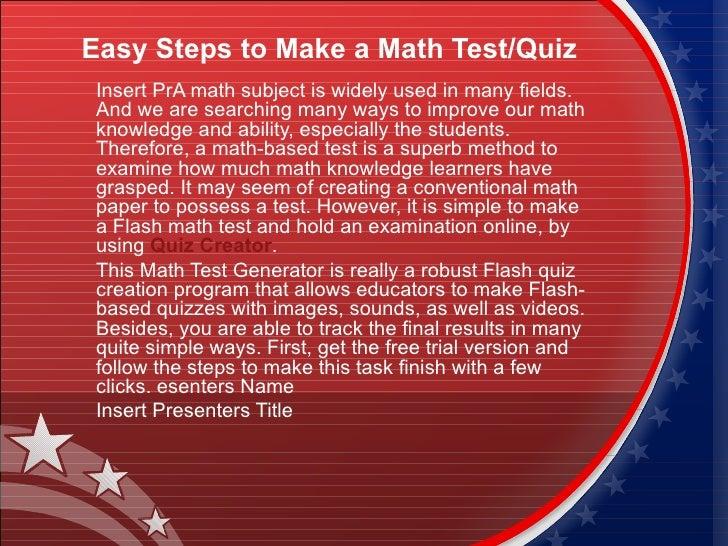 Easy steps to make a math test