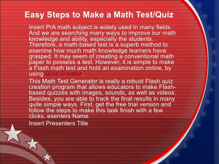 Easy steps to make a math test