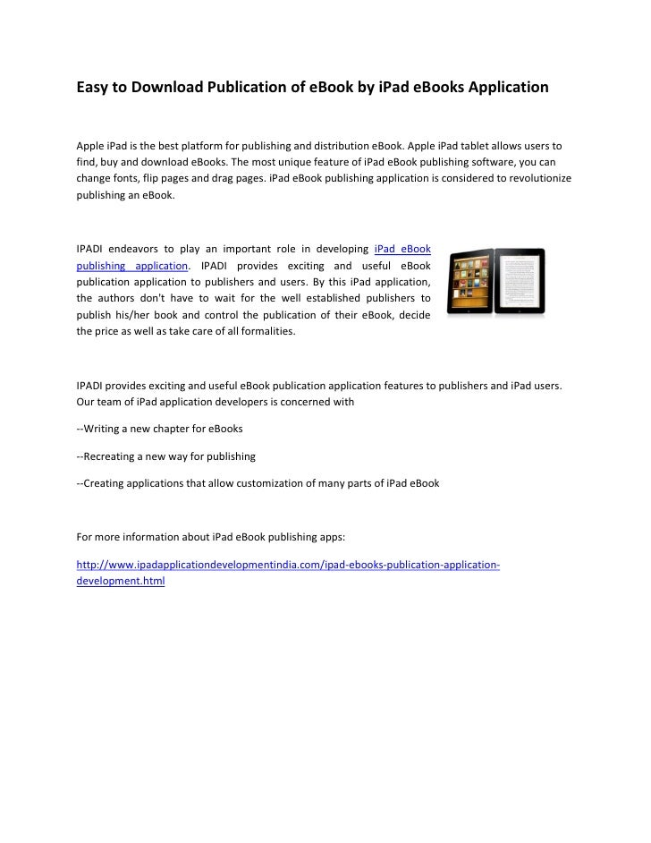 Easy to Download Publication of eBook by iPad eBooks Application