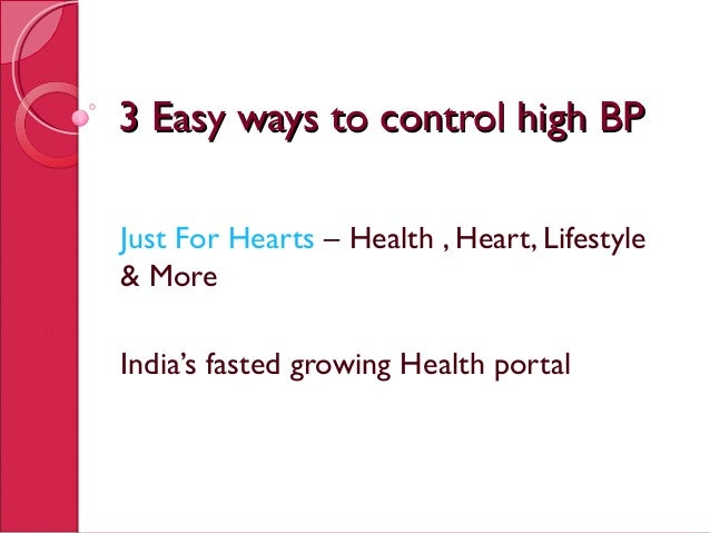 3 Easy ways to control High BP