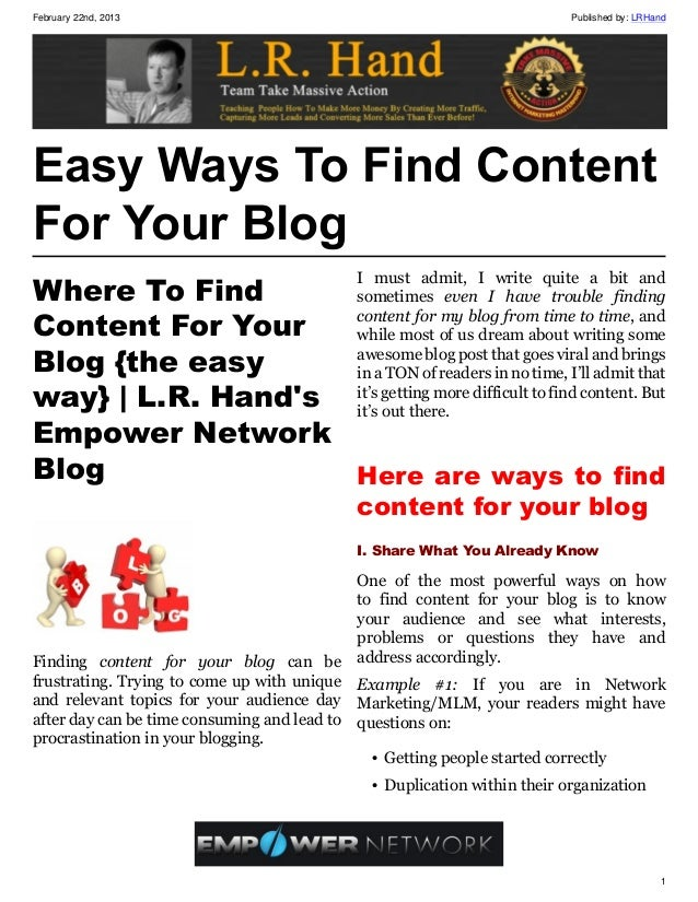 February 22nd, 2013                                                        Published by: LRHandEasy Ways To Find ContentFo...