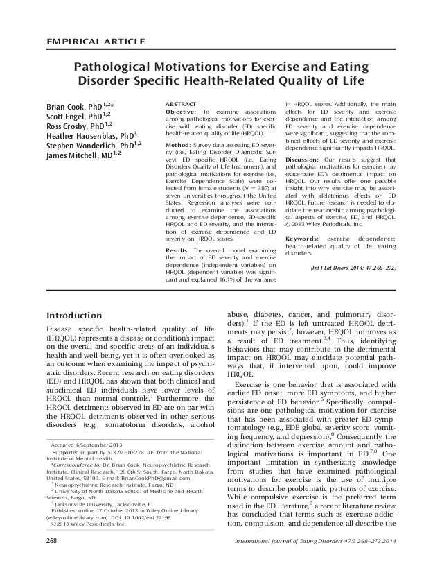 EMPIRICAL ARTICLE Pathological Motivations for Exercise and Eating Disorder Specific Health-Related Quality of Life Brian C...