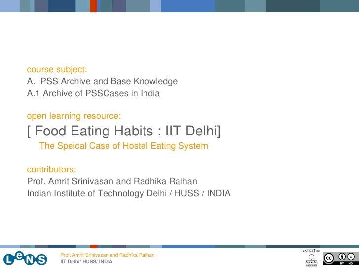 Eating habits of iit delhi