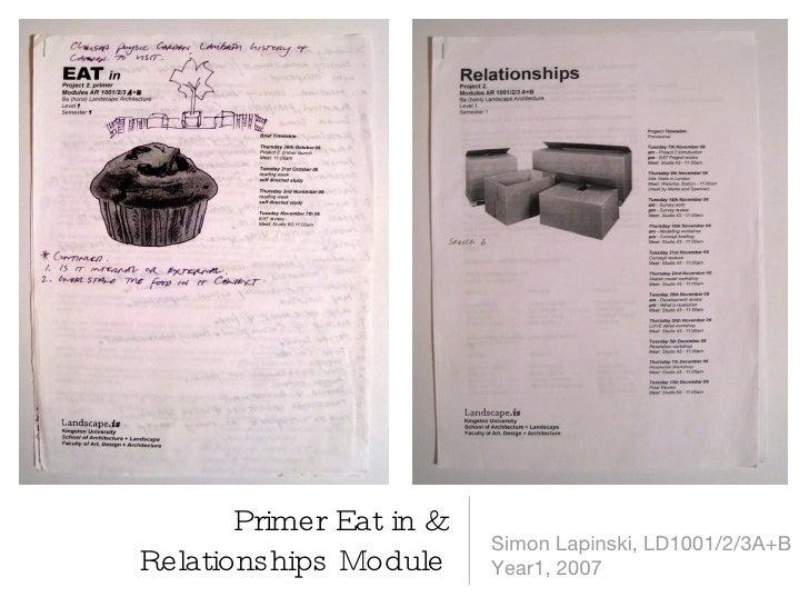 Primer Eat in & Relationships Module <ul><li>Simon Lapinski, LD1001/2/3A+B </li></ul><ul><li>Year1, 2007 </li></ul>