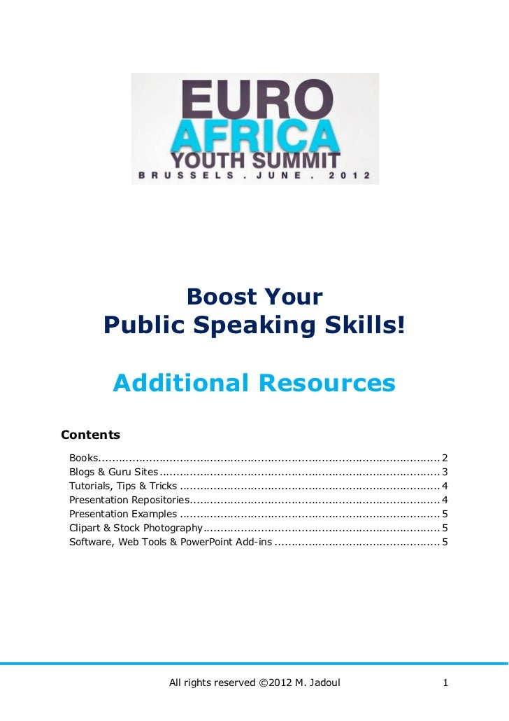 Boost Your          Public Speaking Skills!             Additional ResourcesContents Books ..................................