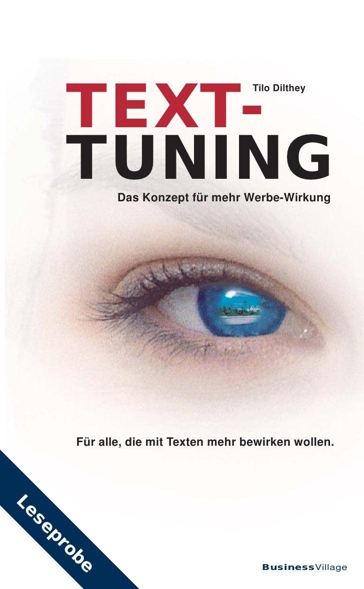 Michael Despeghel • Uwe Nickel      TEXT-                                     Tilo Dilthey      TUNING Das Konzept für meh...