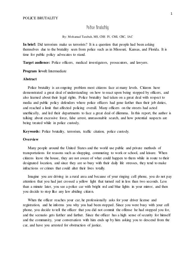 Essay On Health Awareness  Topics For An Essay Paper also Essay About Science And Technology Term Papers On Police Brutality Essay Examples For High School