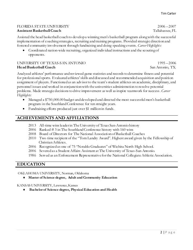 Perfect Ncaa Basketball Coaching Resume Composition Administrative