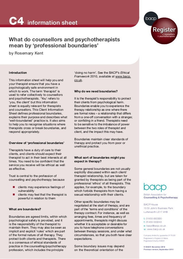 © BACP, November 2012 Previous version, September 2010 Introduction This information sheet will help you and your therapis...