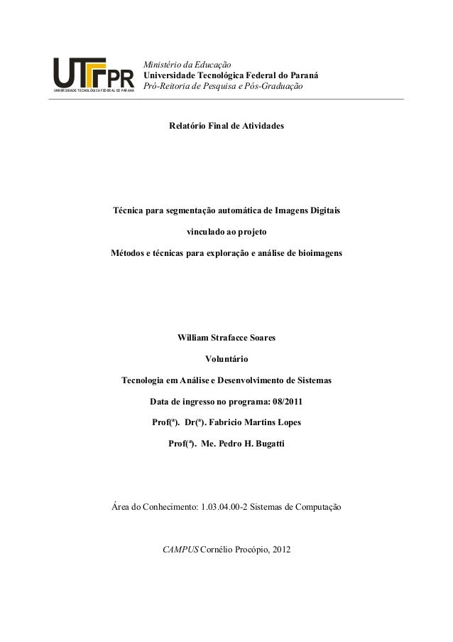 Relatório Final de Atividades Técnica para segmentação automática de Imagens Digitais vinculado ao projeto Métodos e técni...