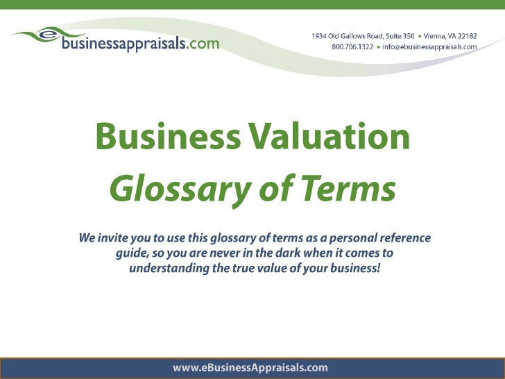 Business Valuation - Glossary of Terms