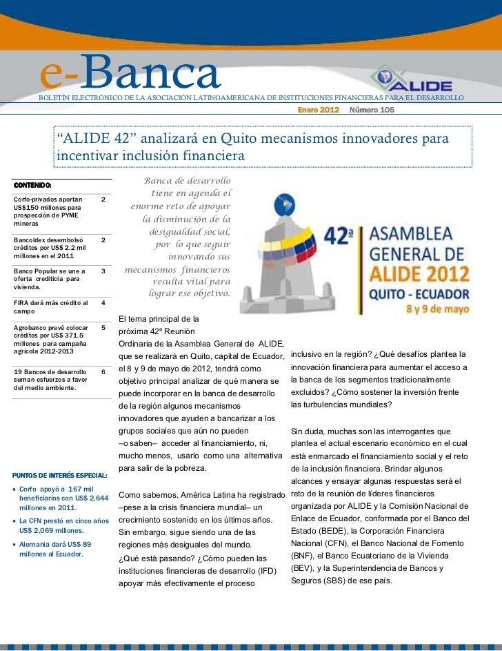 e-Banca        BOLETÍN ELECTRÓNICO DE LA ASOCIACIÓN LATINOAMERICANA DE INSTITUCIONES FINANCIERAS PARA EL DESARROLLO       ...
