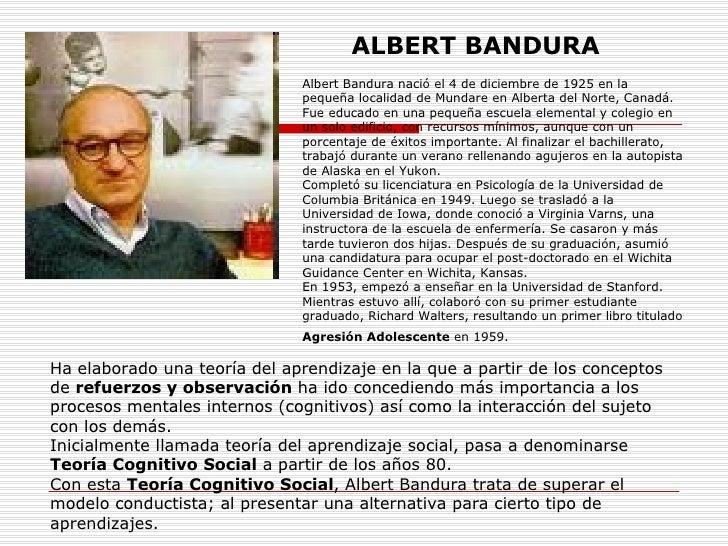 Albert Bandura nació el 4 de diciembre de 1925 en la pequeña localidad de Mundare en Alberta del Norte, Canadá. Fue educad...
