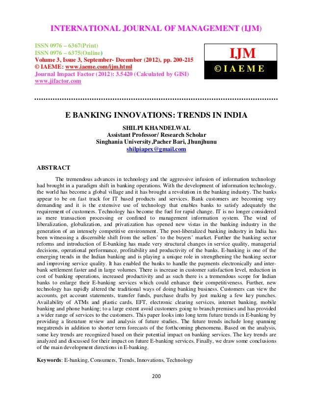 E banking innovations  trends in india