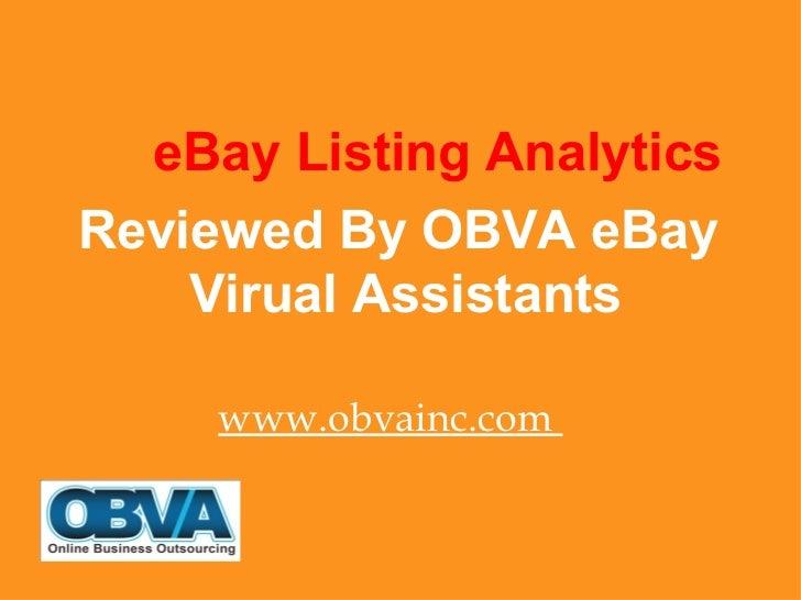 Part 3– eBay Listing Analytics – Top eBay Marketing Tool Series Post By eBay Virtual Assistants At OBVA