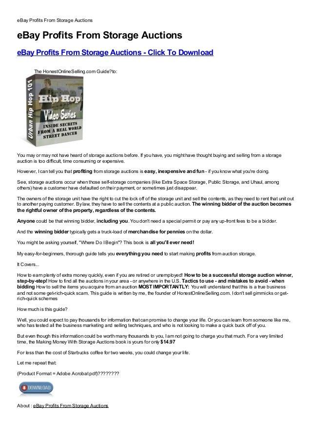 eBay Profits From Storage AuctionseBay Profits From Storage AuctionseBay Profits From Storage Auctions - Click To Download...