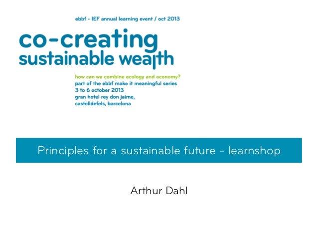 Principles for a sustainable future - learnshop Arthur Dahl