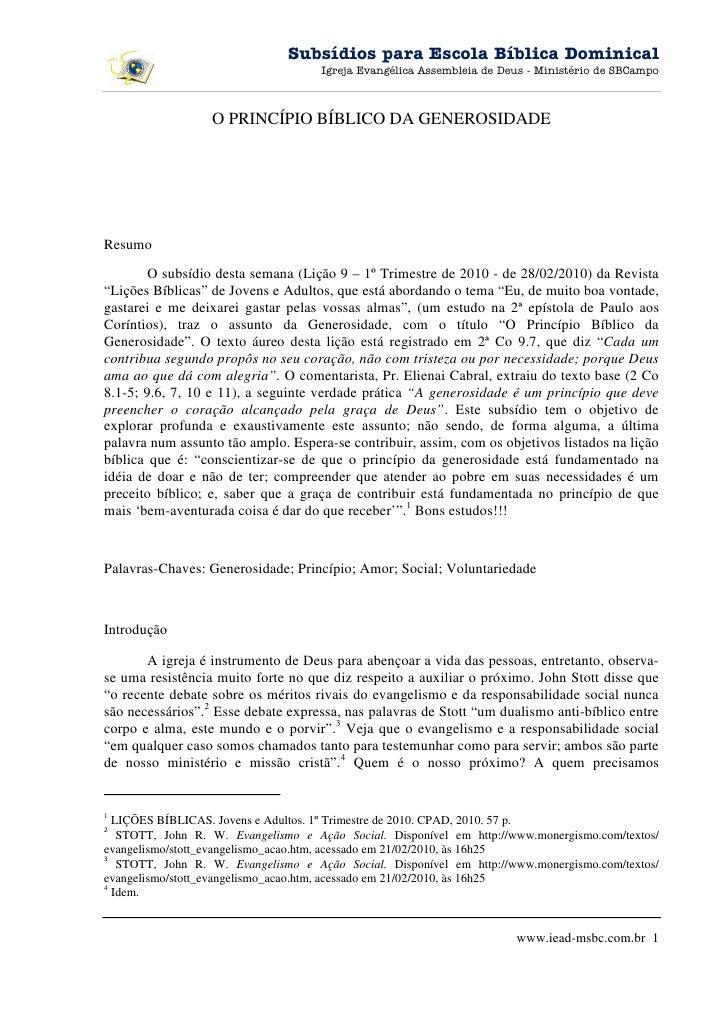 EBD 1º Tri 2010 - Lição 09 - 28022010 - Subsídio
