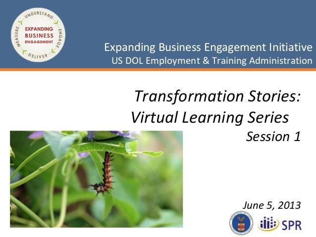 1May 3, 2013Expanding Business Engagement InitiativeUS DOL Employment & Training AdministrationExpanding Business Engageme...