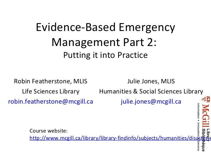 Evidence-Based Emergency Management - Part 2