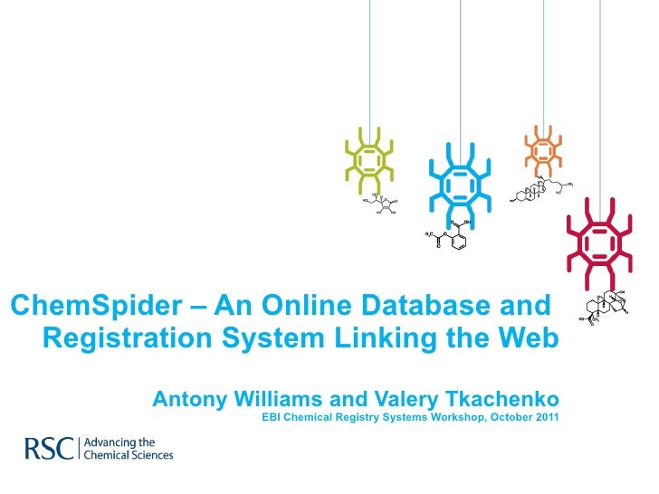 ChemSpider – An Online Database and  Registration System Linking the Web Antony Williams and Valery Tkachenko EBI Chemical...