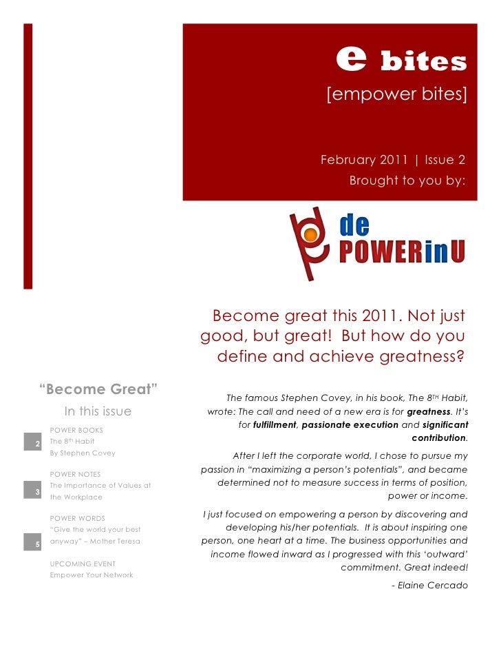 E bites newsletter | Issue2 | Feb 2011