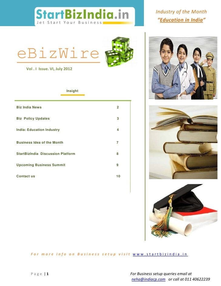"Industry of the Month                                                           ""Education in India""eBizWire     Vol . I I..."