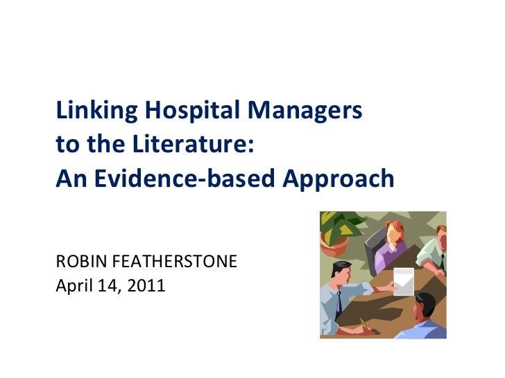 Evidence Based Healthcare Management