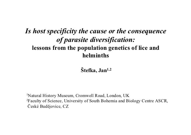 Is host specificity the cause or the consequence of parasite diversification: lessons from the population genetics of lice and helminths. Evolutionary Biology Meeting, Marseilles 2010