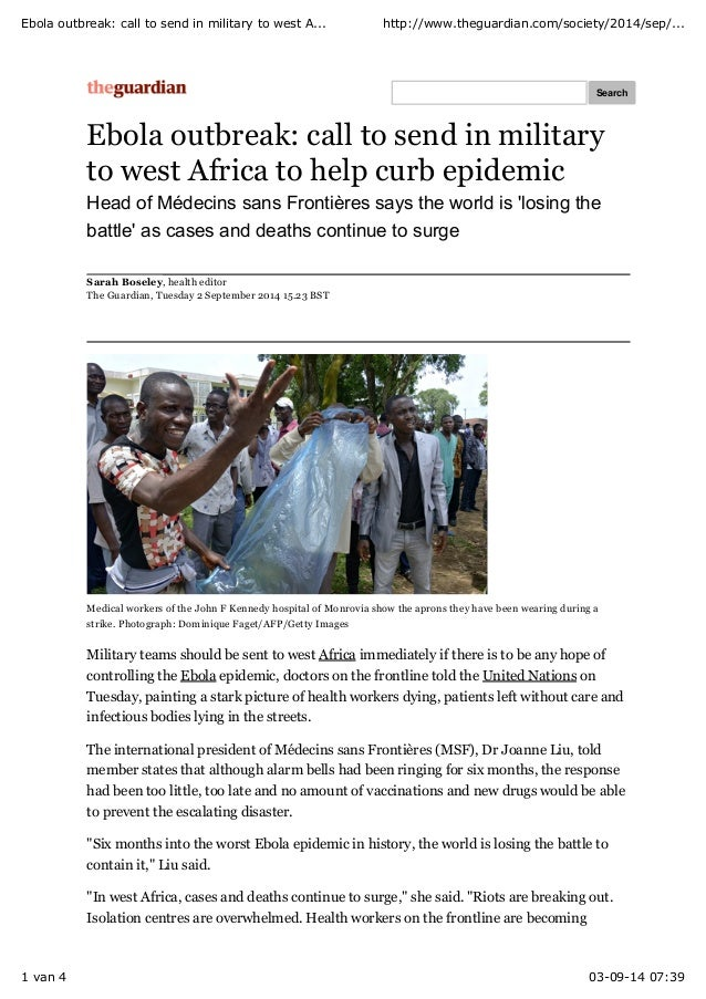 Ebola outbreak: call to send in military to west A... http://www.theguardian.com/society/2014/sep/...  Search  Ebola outbr...