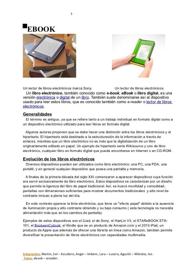19/04/11                 Página 1  EBOOKUn lector de libros electrónicos marca Sony.                   Un lector de libros...