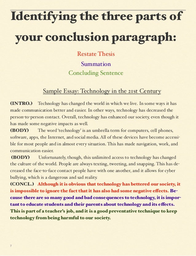 In need to write a conclusion for my Informative Essay.....(It has to be 6-8 sentences)?
