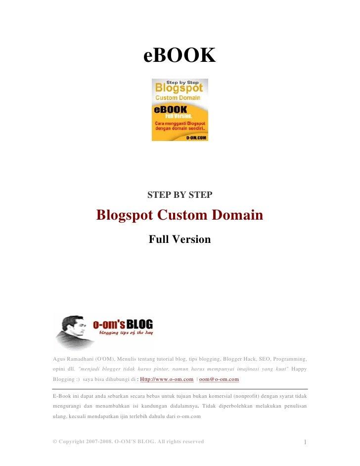 eBOOK                                      STEP BY STEP                 Blogspot Custom Domain                            ...