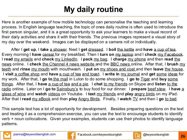 Daily routine in english essay