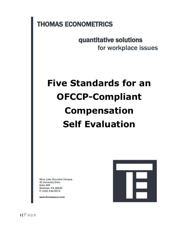 eBbook: Five Standards For An OFCCP Compliant Compensation Self Evaluation
